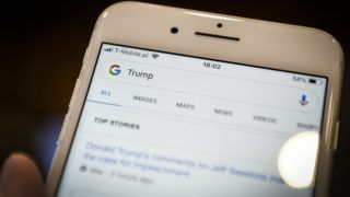 The Google search application is seen running on an iPhone on September 5, 2018. (Photo by Jaap Arriens/NurPhoto)