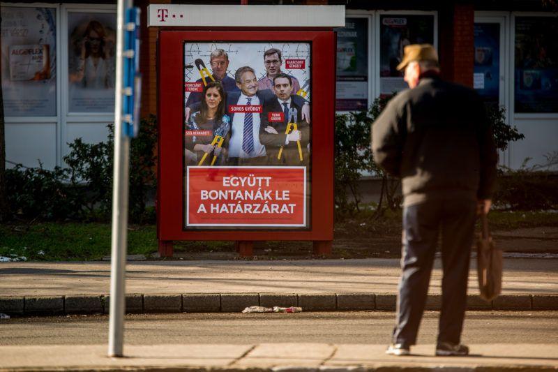 Image: 73860621, A kormány plakátjai, reklámjai a magyarok veszélyes ellenségeirõl (Brüsszel, ENSZ, Soros György, migránsok) szorongást, félelmet váltanak ki a gyermekekben., Place: Budapest, Hungary, License: Rights managed, Model Release: No or not aplicable, Property Release: Yes, Credit: smagpictures.com