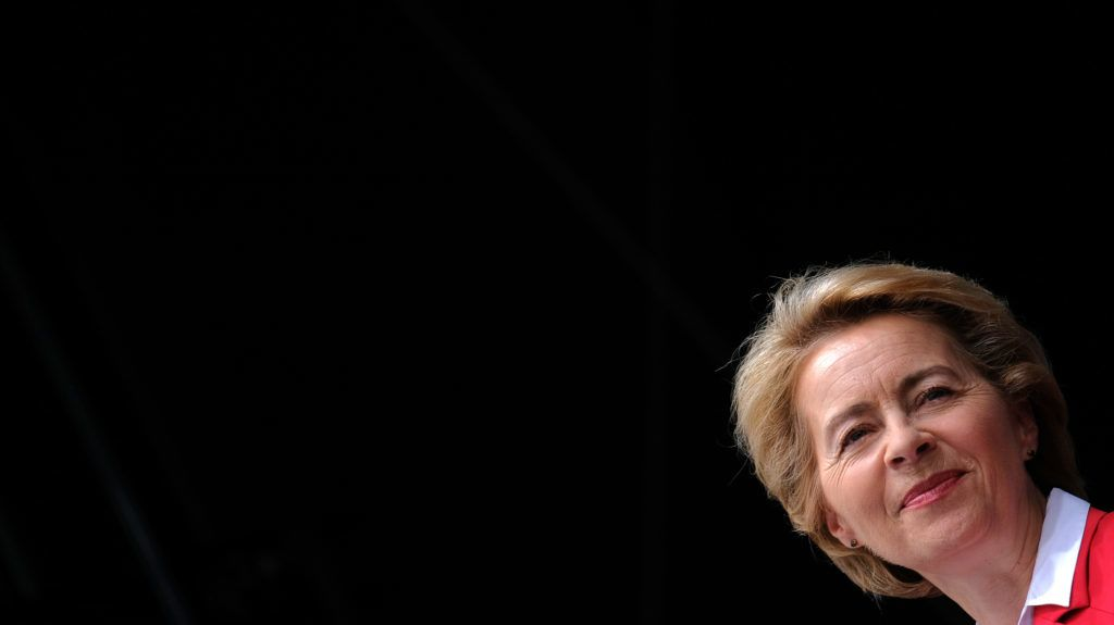 (FILES) In this file photo taken on June 15, 2019 German Defense Minister Ursula von der Leyen gives a speech during the Day of the German Armed Forces at the air base in Fassberg, northern Germany. - Germany's Ursula von der Leyen, a loyal confidente of Chancellor Angela Merkel, annonced on July 15, 2019, on the eve of the European Parliament vote, that she wanted to resign from her ministerial position. Leyen hopes to succeed Jean-Claude Juncker and become the first female European Commission president. (Photo by PATRIK STOLLARZ / AFP)