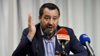 Italy's Interior Minister and deputy Prime minister Matteo Salvini attends a press conference in Helsinki, Finland on July 18, 2019 after an Informal Meeting of EU Ministers for Home Affairs. (Photo by Emmi Korhonen / Lehtikuva / AFP) / Finland OUT