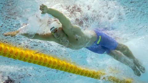 Hungary's Szebasztian Szabo competes in the semi-final of the men's 50m butterfly event during the swimming competition at the 2019 World Championships at Nambu University Municipal Aquatics Center in Gwangju, South Korea, on July 21, 2019. (Photo by François-Xavier MARIT / AFP)