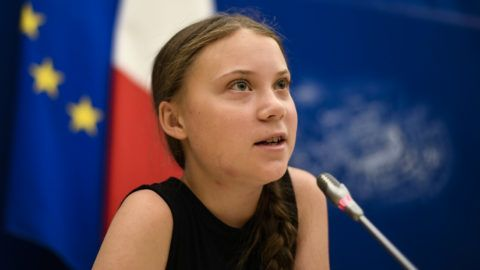 Swedish climate activist Greta Thunberg speaks during a meeting at the French National Assembly, in Paris, on July 23, 2019. (Photo by Lionel BONAVENTURE / AFP)