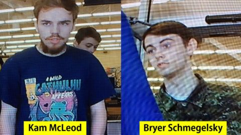 """(FILES) In this file photo taken on July 23, 2019 The Royal Canadian Mounted Police released photos on July 23, 2019 of Kam McLeod, 19, and Bryer Schmegelsky, 18, from Port Alberni, British Columbia, who are considered main suspects in the slayings of 23-year-old Australian Lucas Fowler, and his American girlfriend Chynna Deese, 24, who were discovered shot to death on July 15 along the side of the Alaska Highway near Liard Hot Springs, British Columbia. - The Royal Canadian Air Force is joining the hunt for the two fugitive teens suspected of triple murder, officials said on July 27, 2019, backing up a vast search operation unfolding in the country's remote northeast. (Photo by - / ALBERTA RCMP / AFP) / RESTRICTED TO EDITORIAL USE - MANDATORY CREDIT """"AFP PHOTO / HANDOUT """"Royal Canadian Mounted Police"""" - NO MARKETING NO ADVERTISING CAMPAIGNS - DISTRIBUTED AS A SERVICE TO CLIENTS."""