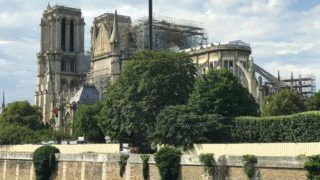 The Cathedral Notre Dame in Paris under repair after it was badly damaged by a huge fire. Three months ago, on April 15, 2019, a devastating fire ripped through Notre Dame de Paris cathedral. | usage worldwide
