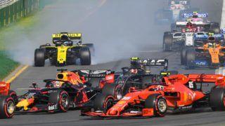 Daniel Ricciardo (3) of Australia locks his brakes in the Renault F1 Team R.S.19 during the first corner of the Australian Formula 1 Grand Prix at Albert Park on March 17, 2019 in Melbourne, Australia (Photo by Morgan Hancock/NurPhoto)