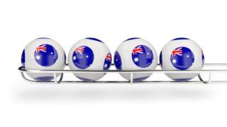 Flag of australia on lottery balls. 3D illustration
