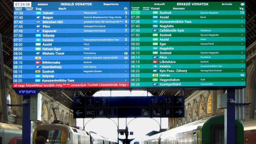 Budapest, 2019. június 14. A MÁV-csoport vonatok indulási és érkezési idejét, a vágányszámokat és egyéb információkat is kijelzõ modern digitális utastájékoztató táblája a Keleti pályaudvar csarnokában MTVA/Bizományosi: Jászai Csaba  *************************** Kedves Felhasználó! Ez a fotó nem a Duna Médiaszolgáltató Zrt./MTI által készített és kiadott fényképfelvétel, így harmadik személy által támasztott bárminemû – különösen szerzõi jogi, szomszédos jogi és személyiségi jogi – igényért a fotó szerzõje/jogutódja közvetlenül maga áll helyt, az MTVA felelõssége e körben kizárt.