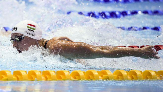 Kvangdzsu, 2019. július 21.Hosszú Katinka a 200 méter vegyesúszás előfutamában a 18. vizes világbajnokságon a dél-koreai Kvangdzsuban 2019. július 21-én. A szám olimpiai bajnoka és világcsúcstartója 2:07.02-es idővel ért célba.MTI/Kovács Tamás