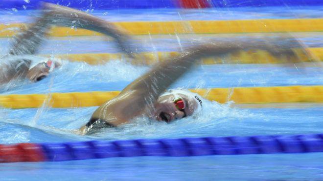 Kvangdzsu, 2019. július 22. Késely Ajna a nõi 1500 méteres gyorsúszás elõfutamában a 18. vizes világbajnokságon a dél-koreai Kvangdzsuban 2019. július 22-én. Késely Ajna a negyedik idõvel, 15:54.48-cal jutott döntõbe 1500 méter gyorson. MTI/Kovács Tamás