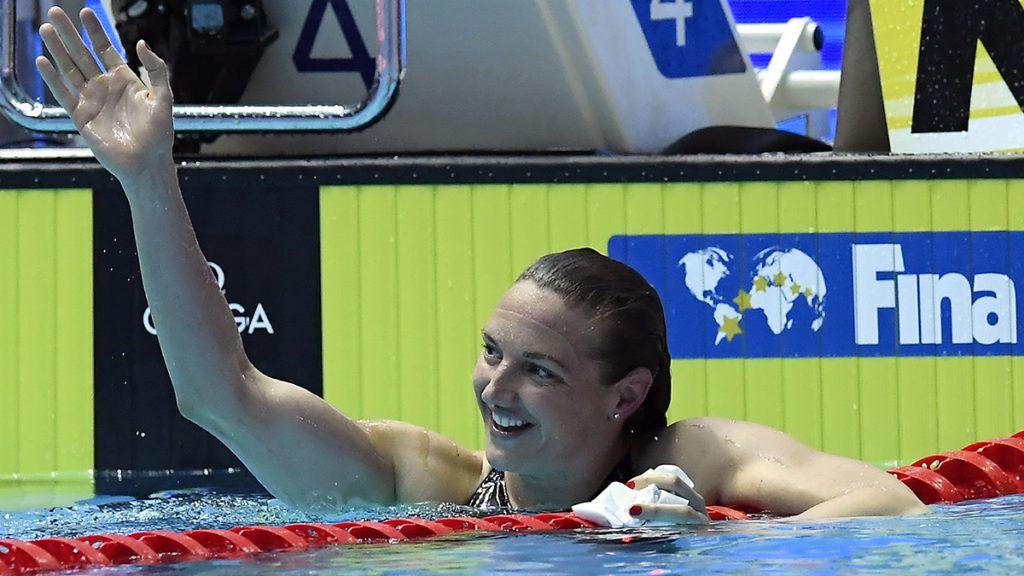 Kvangdzsu, 2019. július 22.A győztes Hosszú Katinka a női 200 méteres vegyesúszás döntője után a 18. vizes világbajnokságon a dél-koreai Kvangdzsuban 2019. július 22-én.MTI/Kovács Tamás