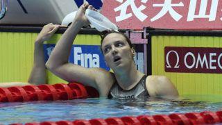 Kvangdzsu, 2019. július 27. A 8. helyezett Hosszú Katinka a nõi 200 méteres hátúszás döntõje után a 18. vizes világbajnokságon a dél-koreai Kvangdzsuban 2019. július 27-én. MTI/Kovács Tamás