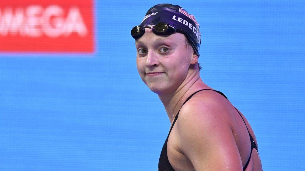 Budapest, 2017. július 29. A gyõztes amerikai Katie Ledecky a nõi 800 méteres gyorsúszás döntõje után a 17. vizes világbajnokságon a Duna Arénában 2017. július 29-én. MTI Fotó: Illyés Tibor