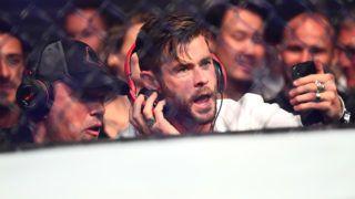 MELBOURNE, AUSTRALIA - FEBRUARY 10: Chris Hemsworth and Matt Damon sit ringside during UFC234 at Rod Laver Arena on February 10, 2019 in Melbourne, Australia. (Photo by Quinn Rooney/Getty Images)