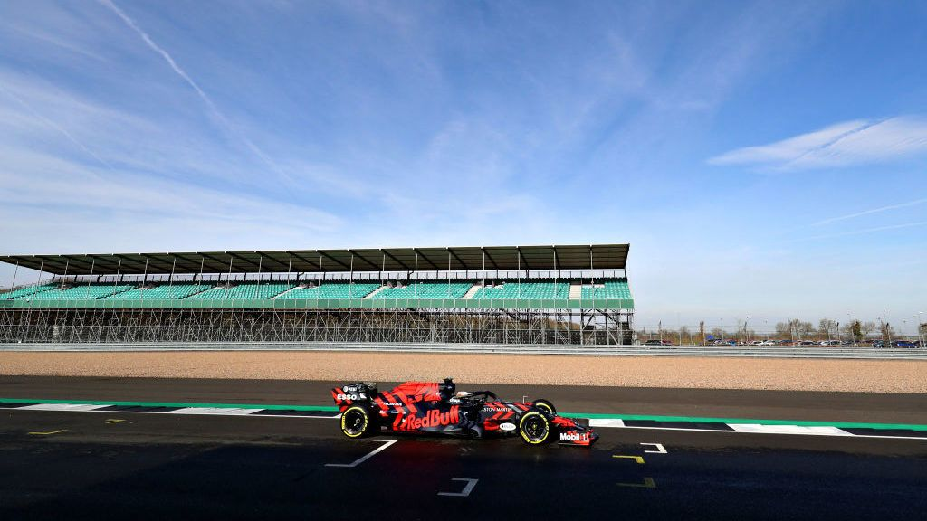 NORTHAMPTON, ENGLAND - FEBRUARY 13: Max Verstappen of the Netherlands driving the (33) Aston Martin Red Bull Racing RB15 on track during Red Bull Racing Filming Day at Silverstone Circuit on February 13, 2019 in Northampton, England. (Photo by Mark Thompson/Getty Images)