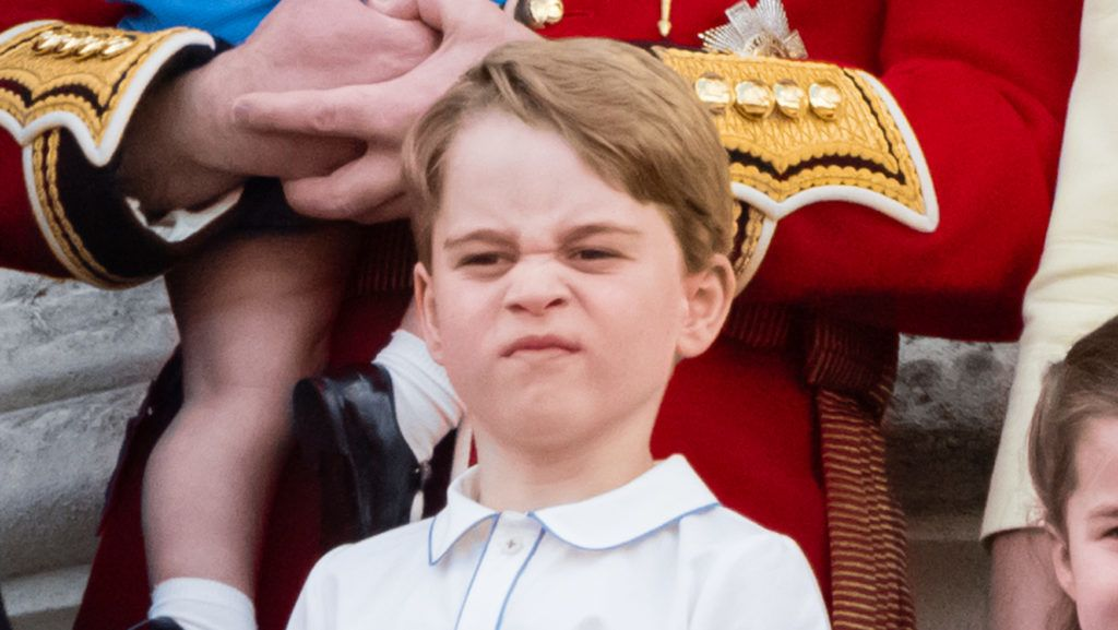 LONDON, ENGLAND - JUNE 08: Prince Louis, Prince George, Prince William, Duke of Cambridge appear on the balcony during Trooping The Colour, the Queen's annual birthday parade, on June 08, 2019 in London, England. (Photo by Samir Hussein/WireImage)