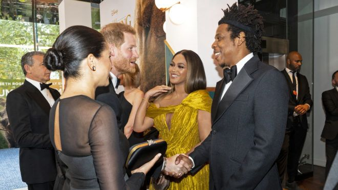 """LONDON, ENGLAND - JULY 14: Prince Harry, Duke of Sussex (3rd L) and Meghan, Duchess of Sussex (2nd L) meet cast and crew, including Beyonce Knowles-Carter (C) Jay-Z (R) as they attend the European Premiere of Disney's """"The Lion King"""" at Odeon Luxe Leicester Square on July 14, 2019 in London, England.  (Photo by Niklas Halle'n-WPA Pool/Getty Images)"""