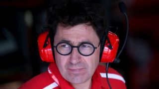LE CASTELLET, FRANCE - JUNE 21: Ferrari Team Principal Mattia Binotto looks on in the garage during practice for the F1 Grand Prix of France at Circuit Paul Ricard on June 21, 2019 in Le Castellet, France. (Photo by Charles Coates/Getty Images)