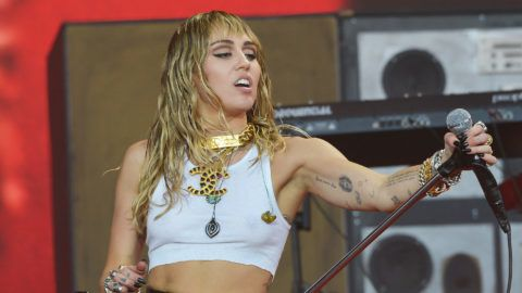 GLASTONBURY, ENGLAND - JUNE 30:  Miley Cyrus performs live on the Pyramid stage during day five of Glastonbury Festival at Worthy Farm, Pilton on June 30, 2019 in Glastonbury, England. The festival, founded by farmer Michael Eavis in 1970, is the largest greenfield music and performing arts festival in the world. Tickets for the festival sold out in just 36 minutes as it returns following a fallow year. (Photo by Jim Dyson/Getty Images)