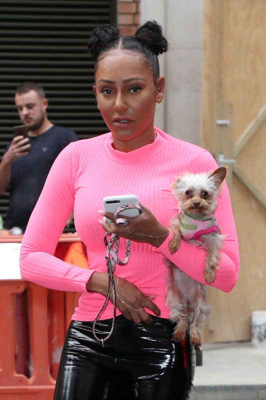 LONDON, ENGLAND - JULY 19:  Mel B arriving at BBC Radio 2 on July 19, 2019 in London, England. (Photo by Neil Mockford/GC Images)