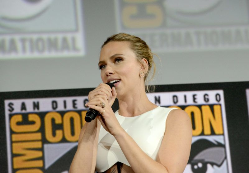 SAN DIEGO, CALIFORNIA - JULY 20: Scarlett Johansson speaks at the Marvel Studios Panel during 2019 Comic-Con International at San Diego Convention Center on July 20, 2019 in San Diego, California. (Photo by Albert L. Ortega/Getty Images)
