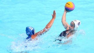 GWANGJU, SOUTH KOREA - JULY 22: Maggie Steffens of the United States and Eleni Xenaki of Greece compete during the Women's Water Polo Quarterfinal match between the United States and Greece on day nine of the Gwangju 2019 FINA World Championships at Nambu University on July 22, 2019 in Gwangju, South Korea. (Photo by Catherine Ivill/Getty Images)