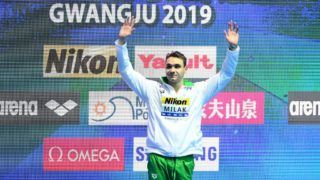 GWANGJU, SOUTH KOREA - JULY 24: Gold medalist Kristof Milak of Hungary poses during the medal ceremony for the Men's 200m Butterfly Final on day four of the Gwangju 2019 FINA World Championships at Nambu International Aquatics Centre on July 24, 2019 in Gwangju, South Korea. (Photo by Quinn Rooney/Getty Images)