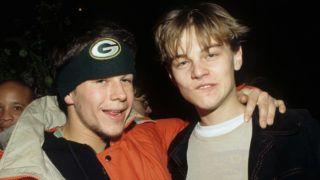 Marky Mark (Wahlberg) and Leonardo DiCaprio during Leonardo DiCaprio File Photo in Los Angeles, California, United States. (Photo by Ke.Mazur/WireImage)