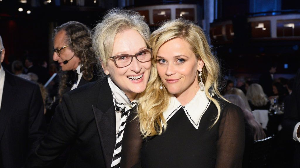 HOLLYWOOD, CA - JUNE 08: Actors Meryl Streep (L) and Reese Witherspoon during American Film Institute's 45th Life Achievement Award Gala Tribute to Diane Keaton at Dolby Theatre on June 8, 2017 in Hollywood, California. 26658_004  (Photo by Stefanie Keenan/Getty Images for Turner)