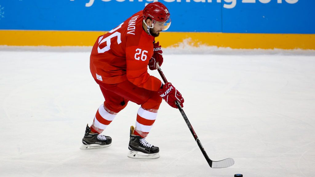 GANGNEUNG, SOUTH KOREA - FEBRUARY 16: Viatcheslav 'Slava' Voynov of Olympic Athlete from Russia during the Men's Ice Hockey Preliminary Round Group B game between Olympic Athletes from Russia and Slovenia at Gangneung Hockey Centre on February 16, 2018 in Gangneung, South Korea. (Photo by Jean Catuffe/Getty Images)