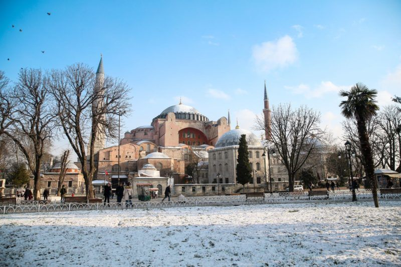 ISTANBUL, TURKEY - JANUARY 08: A general view of the Hagia Sophia in historical peninsula Istanbul, Turkey on January 08, 2019. The city Istanbul, connecting Europe and Asia continents across the Bosphorus Strait and hosted many historical civilisations over the centuries. These places attract numerous domestic and foreign tourists. Muhammed Enes Yildirim / Anadolu Agency