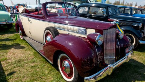 """Kyiv, Ukraine - April 26, 2015: 1939 Packard One-Twenty is on display at the festival """"Old Car Fest 2015"""" at April 26, 2015 in Kiev, Ukraine. Front side view."""