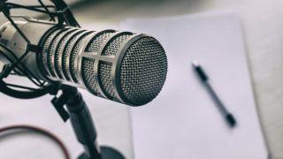 professional microphone in a radio Studio