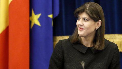 Bukarest, 2018. február 28.Laura Codruta Kövesi, a román Nemzeti Korrupcióellenes Igazgatóságot (DNA) vezető főügyész a DNA bukaresti évértékelő értekezletén 2018. február 28-án. (MTI/EPA/Robert Ghement)