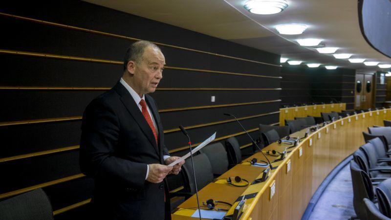 Brüsszel, 2019. január 31. Az Európai Parlament honlapján közreadott képen Szanyi Tibor szocialista képviselõ felszólal a jogállamiság magyarországi helyzetérõl tartott vitán a parlament plenáris ülésén Brüsszelben 2019. január 30-án. MTI/Európai Parlament/Jan Van de Vel