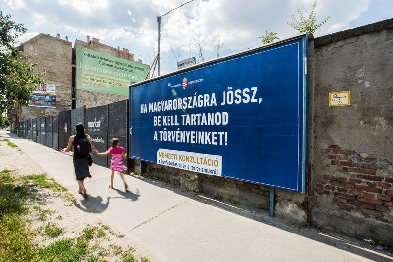 Image: 73667349, A kormány bevándorlásról szóló plakátja a fővárosban., Place: Budapest, Hungary, License: Rights managed, Model Release: No or not aplicable, Property Release: Yes, Credit: smagpictures.com