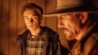 """Charlie Plummer as Tyler, left, and Dylan McDermott as Don in the thriller """"The Clovehitch Killer."""" (Photo courtesy of IFC Midnight.)"""