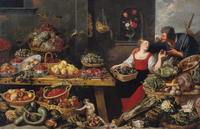 Fruit and Vegetable Market (oil on canvas) by Snyders, Frans (1579-1657) (after); 153x235 cm; Musee des Beaux-Arts, Dunkirk, France; (add.info.: Marchande de Legumes et de Fruits)