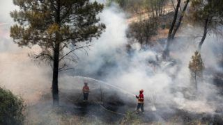 Sarnada, 2019. július 21. Tûzoltók locsolják az égõ növényzetet a közép-portugáliai Sarnada településnél 2019. július 21-én. A lángok az elõzõ nap lobbantak fel a Lisszabontól 225 kilométerre, északkeletre fekvõ Castelo Branco közelében, és az erõs szél és a szárazság miatt gyorsan terjednek délnyugat felé. Az oltásban több mint ezer tûzoltó vesz részt, hét tûzoltó és egy civil megsérült a feladat során. MTI/EPA/LUSA/Paulo Novais