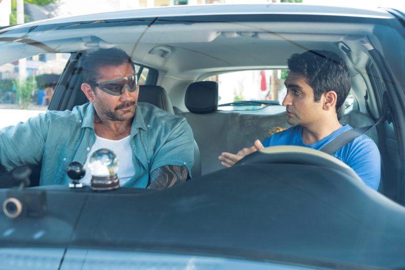 "Dave Bautista as Vic and Kumail Nanjiani as Stu in ""Stuber."""