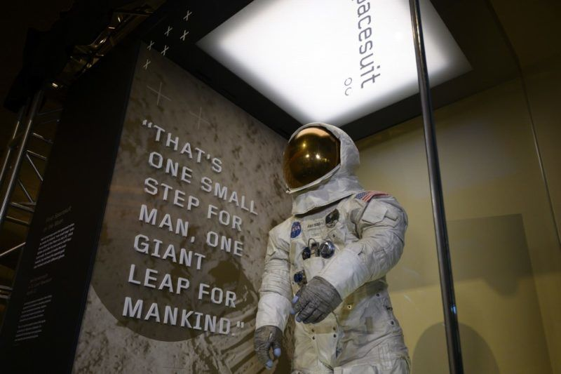 Neil Armstrong's Apollo 11 spacesuit is seen after being unveiled for the first time in thirteen years, at the Smithsonian National Air and Space Museum in Washington, DC, on July 16, 2019, during the 50th anniversary of the launch mission. - Fifty years ago on Tuesday, three American astronauts set off from Florida for the Moon on a mission that would change the way we see humanity's place in the universe. (Photo by Alastair Pike / AFP)