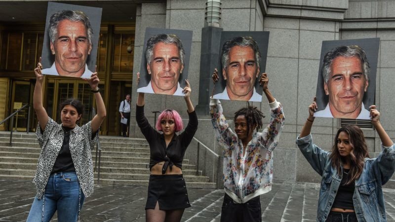 """(FILES) In this file photo taken on July 8, 2019, a protest group called """"Hot Mess"""" hold up photos of Jeffrey Epstein in front of the Federal courthouse on July 8, 2019 in New York City. - The wealthy US financier Jeffrey Epstein, indicted on charges he trafficked underage girls for sex, committed suicide in prison, US news media reported on August 10, 2019. Epstein, who had hobnobbed with politicians and celebrities over the years and was already a convicted sex offender, hanged himself in his cell at the Metropolitan Correctional Center and his body was found around 7:30 Saturday morning, The New York Times and other media said, quoting officials. (Photo by STEPHANIE KEITH / GETTY IMAGES NORTH AMERICA / AFP)"""