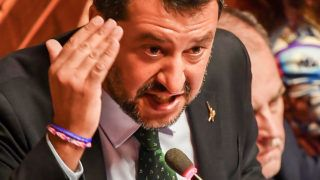 """Deputy Prime Minister and Interior Minister Matteo Salvini delivers as speech at the Italian Senate, in Rome, on August 20, 2019, as the country faces a political crisis. - Italy's Prime Minister Giuseppe Conte says to offer resignation during his speech at the Senate after calling Italy's far-right Interior Minister Matteo Salvini """"irresponsible"""" to spark a political crisis by pulling the plug on the governing coalition. (Photo by Andreas SOLARO / AFP)"""