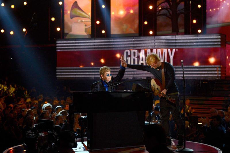 LOS ANGELES, CA - FEBRUARY 10: Musicians Elton John (L) and Ed Sheeran perform onstage at the 55th Annual GRAMMY Awards at Staples Center on February 10, 2013 in Los Angeles, California.   Kevork Djansezian/Getty Images/AFP