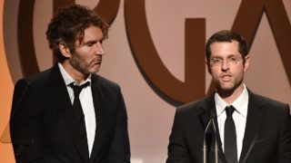 CENTURY CITY, CA - JANUARY 23: Producers/writers David Benioff (L) and D. B. Weiss accept The Norman Felton Award for Outstanding Producer of Episodic Television, Drama for 'Game of Thrones' (Season 5) onstage at the 27th Annual Producers Guild Of America Awards at the Hyatt Regency Century Plaza on January 23, 2016 in Century City, California.   Kevin Winter/Getty Images/AFP