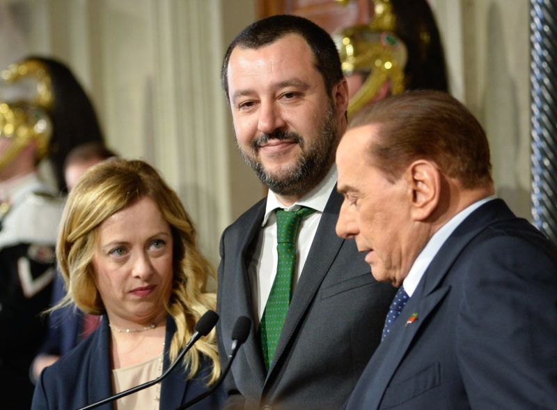 Giorgia Meloni, Silvio Berlusconi, leader of the Forza Italia party, , Matteo Salvini at the end of the Consultations of the President of the Republic for the formation of the new Government on April 12, 2018 in Rome, Italy (Photo by Silvia Lore/NurPhoto)