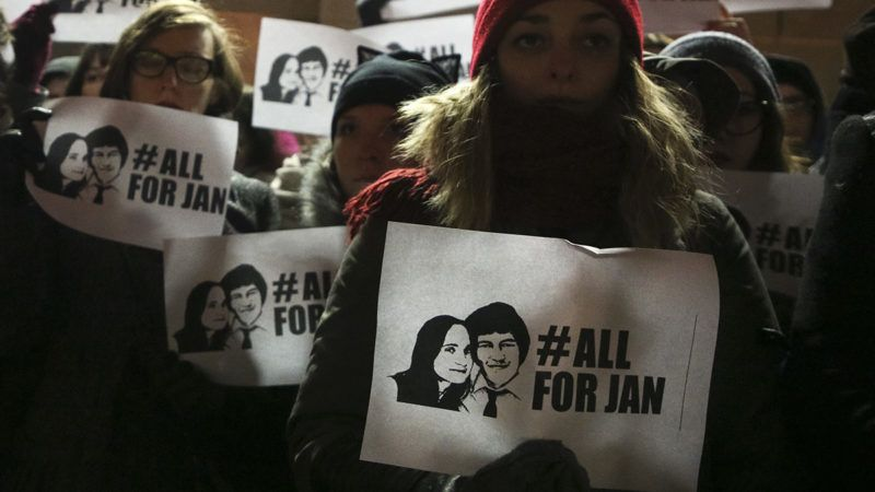 People gathered in front of the Consulate General of the Slovak Republic to honour the memory of Jan Kuciak and Martina Kusnirova. Krakow, Poland on 2 March, 2018. Kuciak, a Slovak investigative journalist, along with his girlfriend, was found shot dead on 25 February 2018 in their home in Slovakia. Slovakian Prime Minister is offering a reward of 1 million euros for information about the murder. (Photo by Beata Zawrzel/NurPhoto)