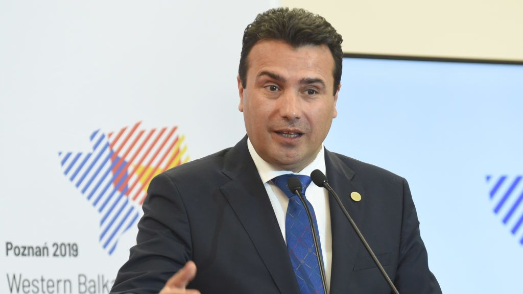 Prime Minister of Northern Macedonia Zoran Zaev speaks during a press conference at the end of the Western Balkans Summit on July 5, 2019 in Poznan, Poland - This is the sixth annual summit within the Berlin Process initiative for European integration of Western Balkans states. (Photo by Janek SKARZYNSKI / AFP)