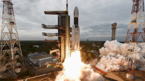 """This handout photo taken and released by Indian Space Research Organisation (ISRO) on July 22, 2019 shows ISRO's Chandrayaan-2 (Moon Chariot 2), with on board the Geosynchronous Satellite Launch Vehicle (GSLV-mark III-M1), being launched from the Satish Dhawan Space Centre in Sriharikota, an island off the coast of southern Andhra Pradesh state. (Photo by Handout / Indian Space Research Organisation (ISRO) / AFP) / RESTRICTED TO EDITORIAL USE - MANDATORY CREDIT """"AFP PHOTO / INDIAN SPACE RESEARCH ORGANISATION"""" - NO MARKETING - NO ADVERTISING CAMPAIGNS - DISTRIBUTED AS A SERVICE TO CLIENTS"""