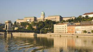 An early morning view of Budapest including the Chain Bridge, Castle Hill and the Danube River, Budapest, Hungary, Europe