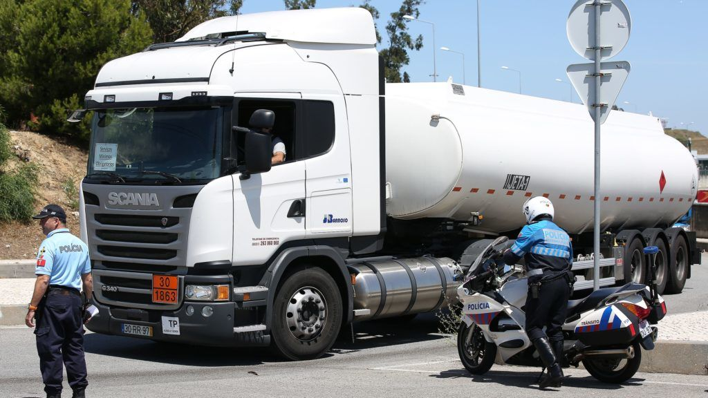 Police escorts fuel-tankers leaving the Humberto Delgado Airport in Lisbon, Portugal on August 12, 2019, during the first day of a fuel truck drivers strike. Portugal's Government declared Energy Crisis status and decreed minimum services for critical sectors such as hospitals and airports. (Photo by Pedro Fiúza/NurPhoto)